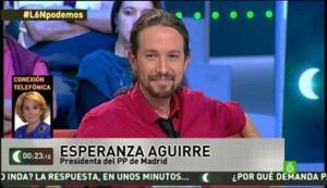 Imágenes del debate en La Sexta Noche entre Esperanza Aguirre y Pablo Iglesias