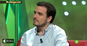 Alberto Garzón durante su entrevista en La Sexta Noche este sábado