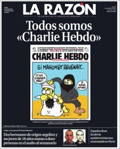 Portada del diario español La Razón en homenaje a Charlie Hebdo