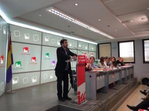 Garzón se dirige a sus compañeros de IU / Imagen: @iunida