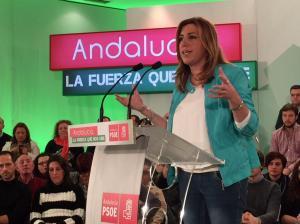 Susana Díaz participando en un mitin este fin de semana / Foto: @psoedeandalucia