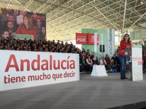Susana Díaz durante un mitin en Jaen / Foto: @PSOEJAEN