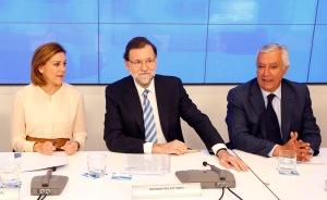 Rajoy con Cospedal y Arenas durante la Junta Directiva del PP / Foto: Partido Popular