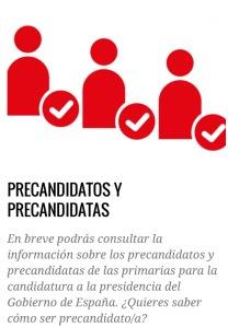 Imagen de la web del PSOE en la que aún no se ha publicado la información sobre los precandidatos
