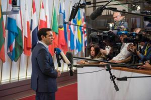 Alexis Tsipras a la salida del Eurogrupo del domingo