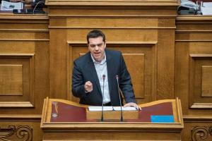 Alexis Tsipras interviniendo ante el parlamento griego